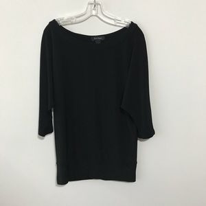 White House Black Market Black Wide Neck Tunic Top